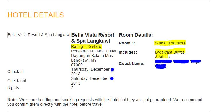 Details of our stay.