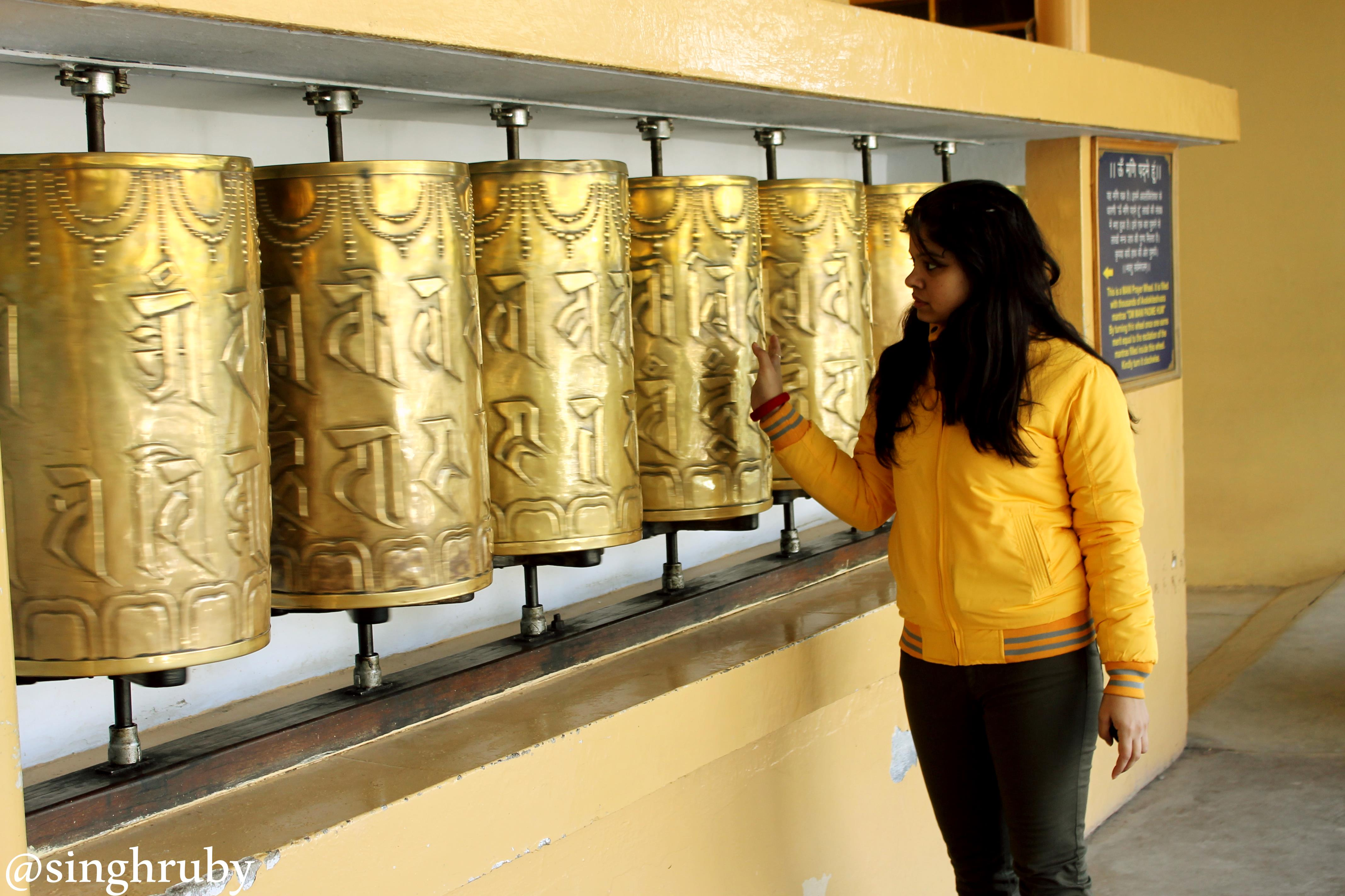 Prayer wheels in the temple