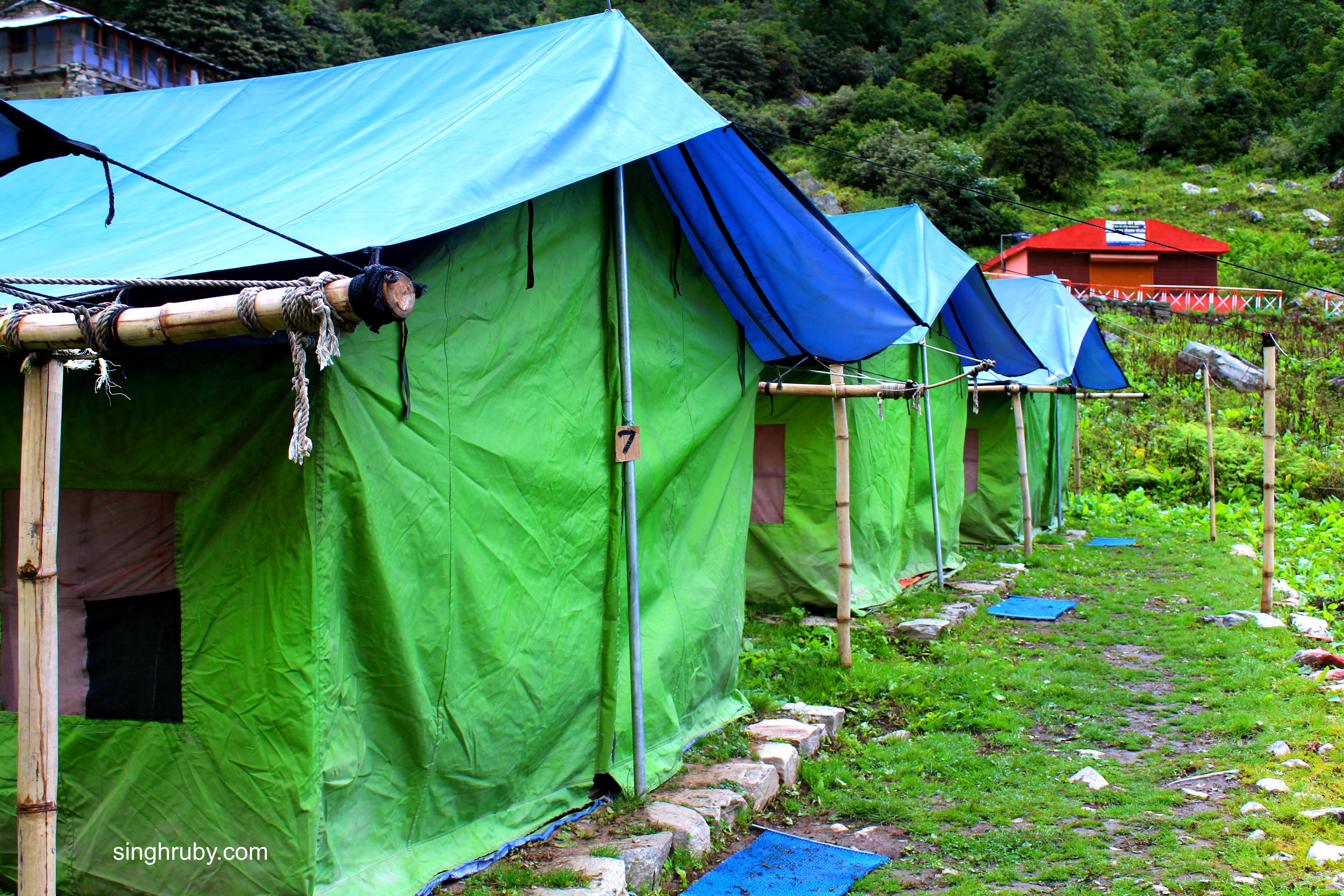 The tents at base camp at Ghangharia Village.